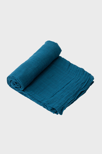 Lake Blue Muslin Swaddle Blanket