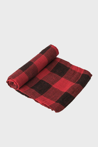 Red Plaid Muslin Swaddle Blanket