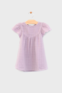 bba83d5583c Lilac Lace Sleeve Muslin Baby Dress