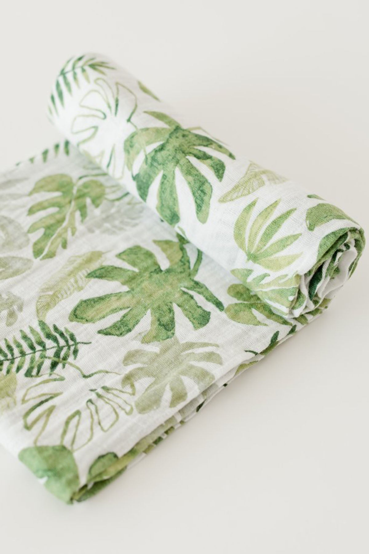 Tropical Leaf Muslin Swaddle Blanket