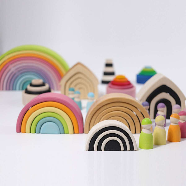 Wooden Rainbow Medium 6 Piece Pastel