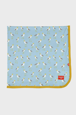Blue Plovers Modal Swaddle Blanket with little birds