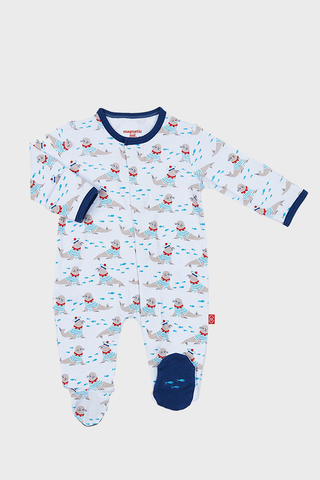Petit Marin Footed Romper with blue stripes