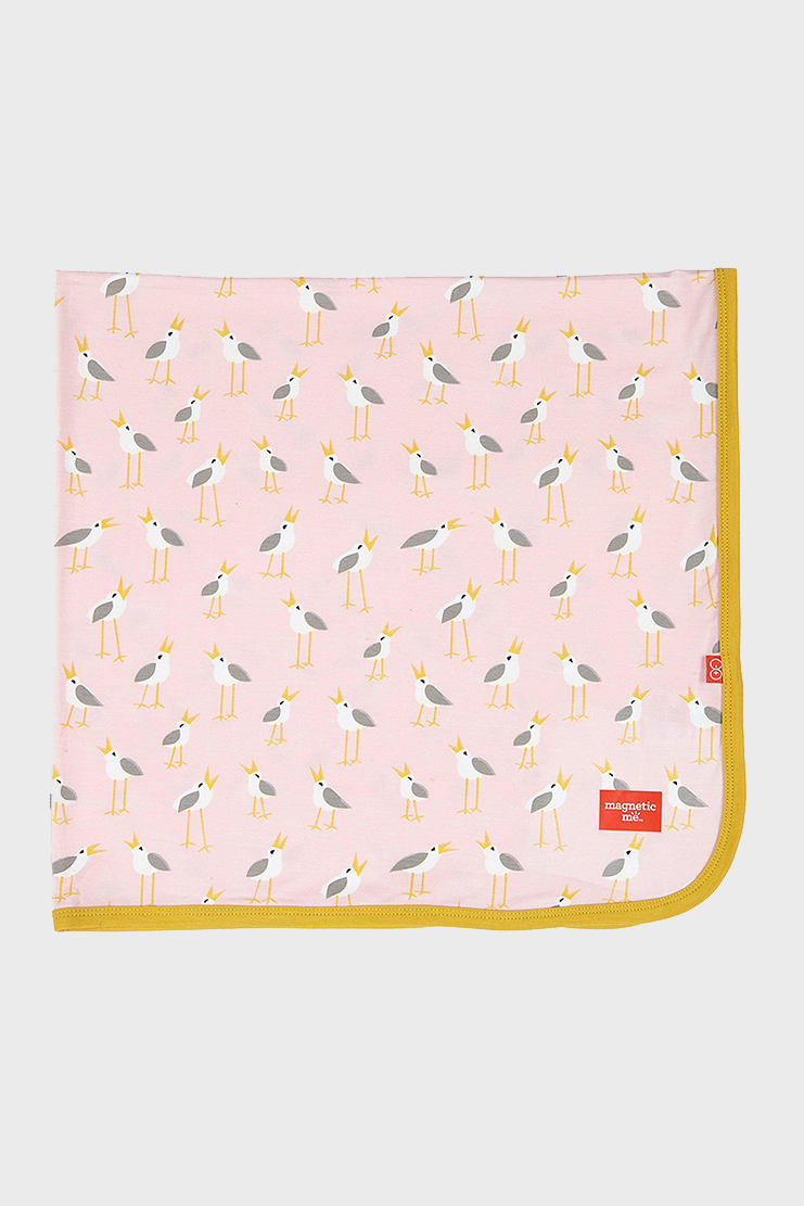 Pink Plovers Modal Swaddle Blanket with stripes and birds