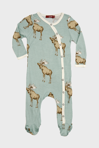 Bamboo Footed Romper Bowtie Moose