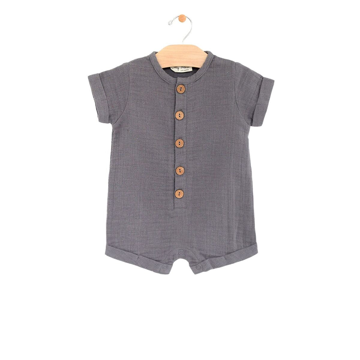 Pewter Muslin Short Button Romper