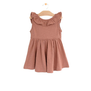 Clay Flutter Back V Dress
