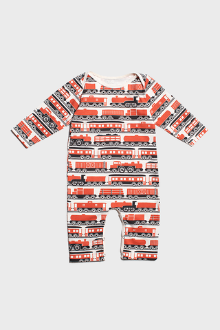 Orange Trains L/S Romper