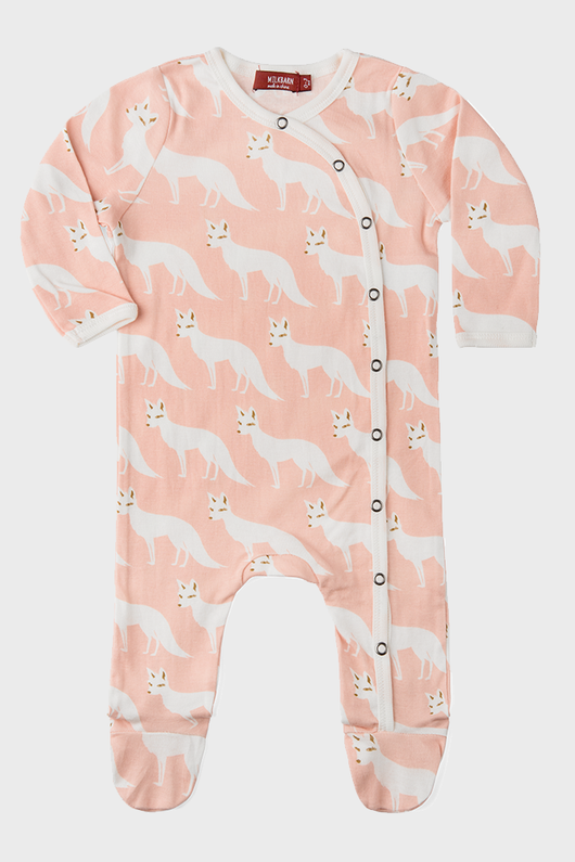 Footed Romper Pink Fox