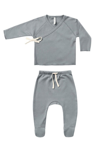 Ocean Wrap Top & Footed Pant Set