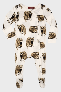 Bamboo Footed Romper Raccoon