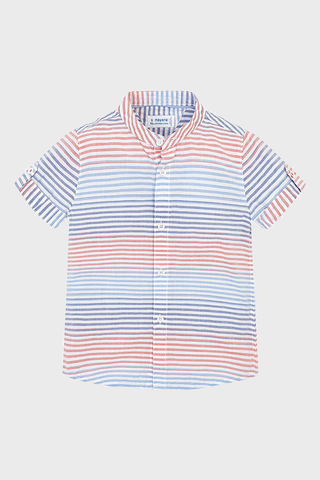 Stripe Band Collar Button Up