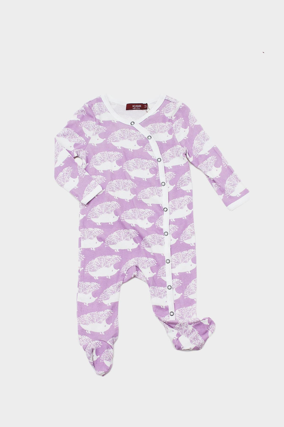 milk barn hedgehog footed romper