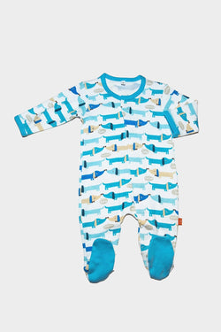 Blue Dog Footed Romper