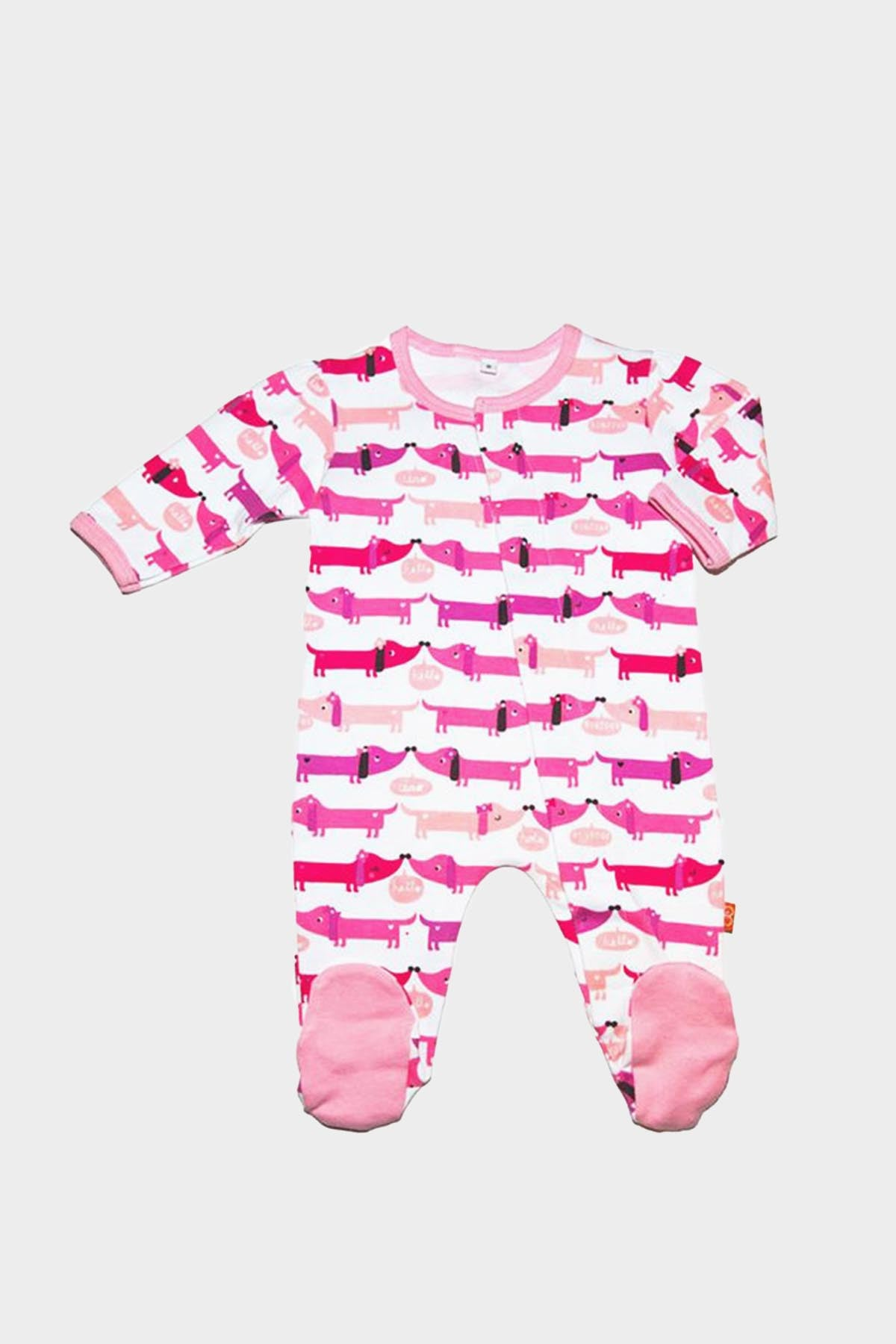 Pink Dog Footed Romper