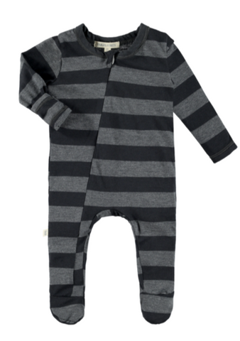 Black & Gray Stripe Zipper Romper