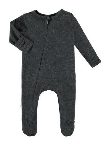 Charcoal Vintage Zipper Footie Romper