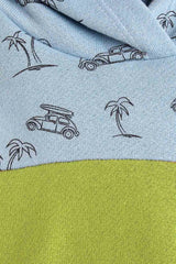 palm tree and surf print fabric