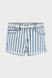 Blue Striped Shorts with Belt