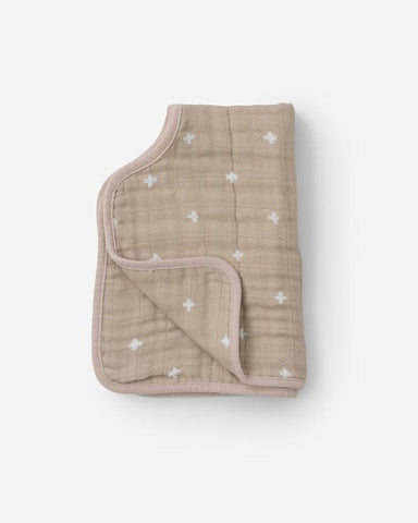 Muslin Burp Cloth - Taupe Cross