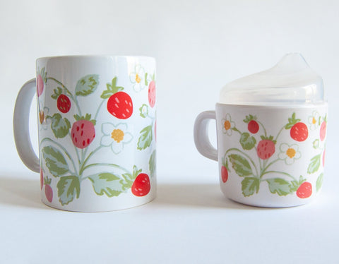 Vintage Strawberry Mama and Me Cup Set