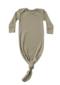 Olive Ribbed Knotted Baby Gown