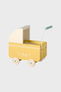 Yellow Baby Pram with Linens