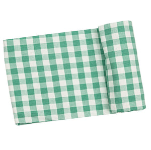 Green Gingham Swaddle Blanket