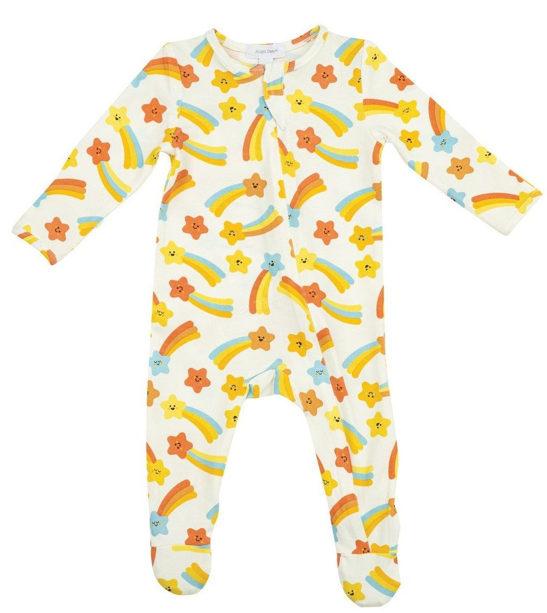 Orange Shooting Stars Zipper Footie