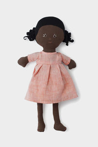 Ada Doll in Coral Linen Dress