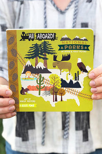 all aboard, national parks board book
