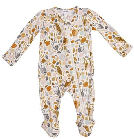 Autumn Owls Ruffle Zipper Footie