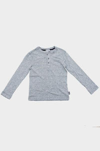 Heather Grey L/S Henley Shirt