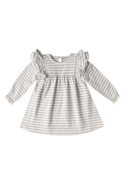 Fog Stripe Flutter Dress