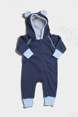 Terry Bear Hooded Romper Midnight