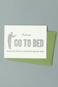 Go To Bed Card