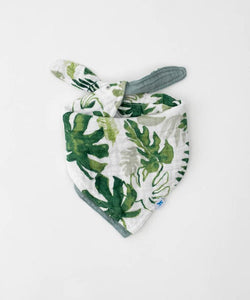 Muslin Reversible Bandana Bib - Tropical Leaf