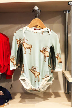 bowtie moose l/s onesie mint blue green