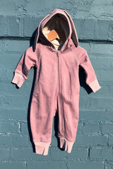 Terry Bunny Hooded Romper Rose