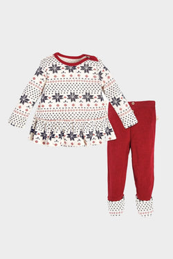 burt's bees fair isle dress and pant set baby girl holiday christmas