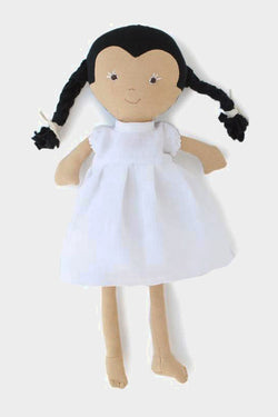 Celia Doll in Snowy White  Linen Dress