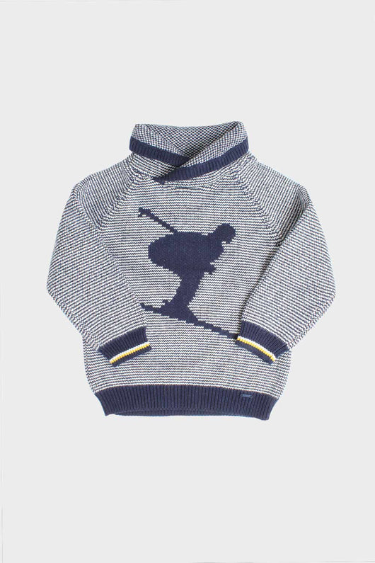 knit cowel neck sweater from mayoral with skiier