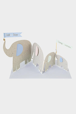 Baby Boy Elephant Concertina Card