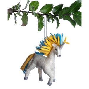 Gold Rainbow Unicorn Wool Felt Ornament