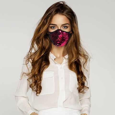 Kid Flip Sequin Face Mask Pink/Silver