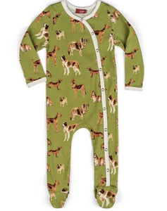 Footed Romper Green Dog