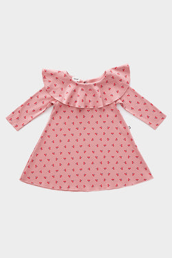 Dark Pink & Cherries Ruffle Collar Kid Dress