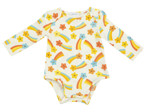 Orange Shooting Stars Lap Shoulder Onesie