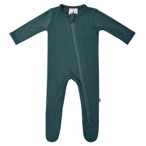 Emerald Zipper Footed Romper