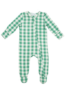 Green Gingham Zipper Footie